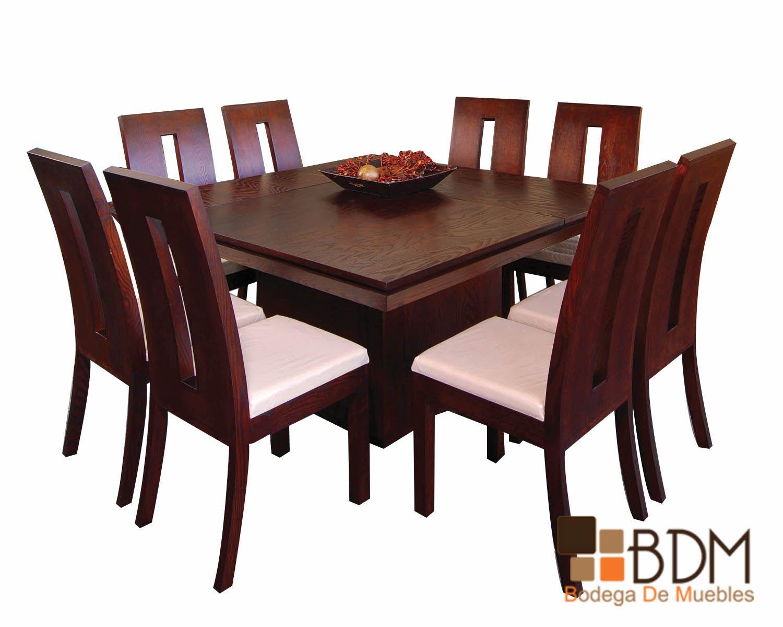 Comedor-Cuadrado-Ocho-Sillas-moderno-madera-hogar-decoración-confort ...