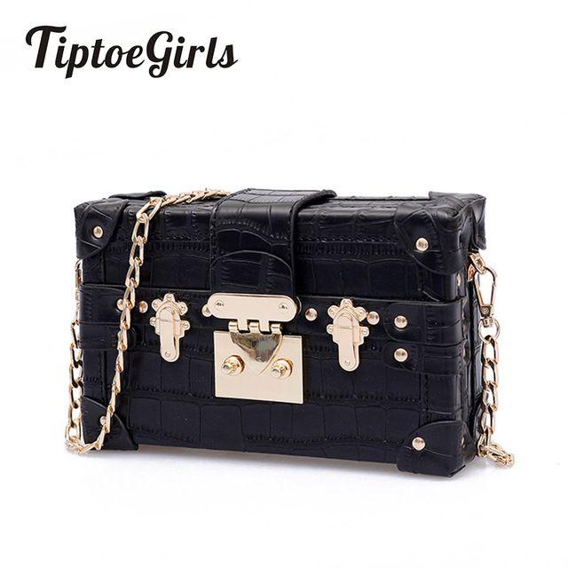 207b1d483199 Small Chains Women Box Bags Black Leather Female Handbags Ladies Clutch Retro  Women Messenger Bags Panelled Rivet Shoulder Bag Review