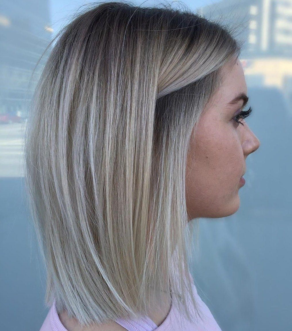 Straight Ash Bronde Lob With Stretched Roots Bobsforthinhair Medium Length Hair Styles Straight Hairstyles Balayage Straight Hair