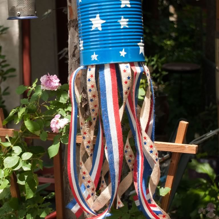 Let your creative spirit fly free! In just a few minutes of fun craftsmanship you can make colorful, decorative windsocks out of coffee cans and ribbon— and bring your yard and garden to life! They're a great way to decorate, show your patriotism and have fun preparing for a 4th of July party—or any patriotic holiday!