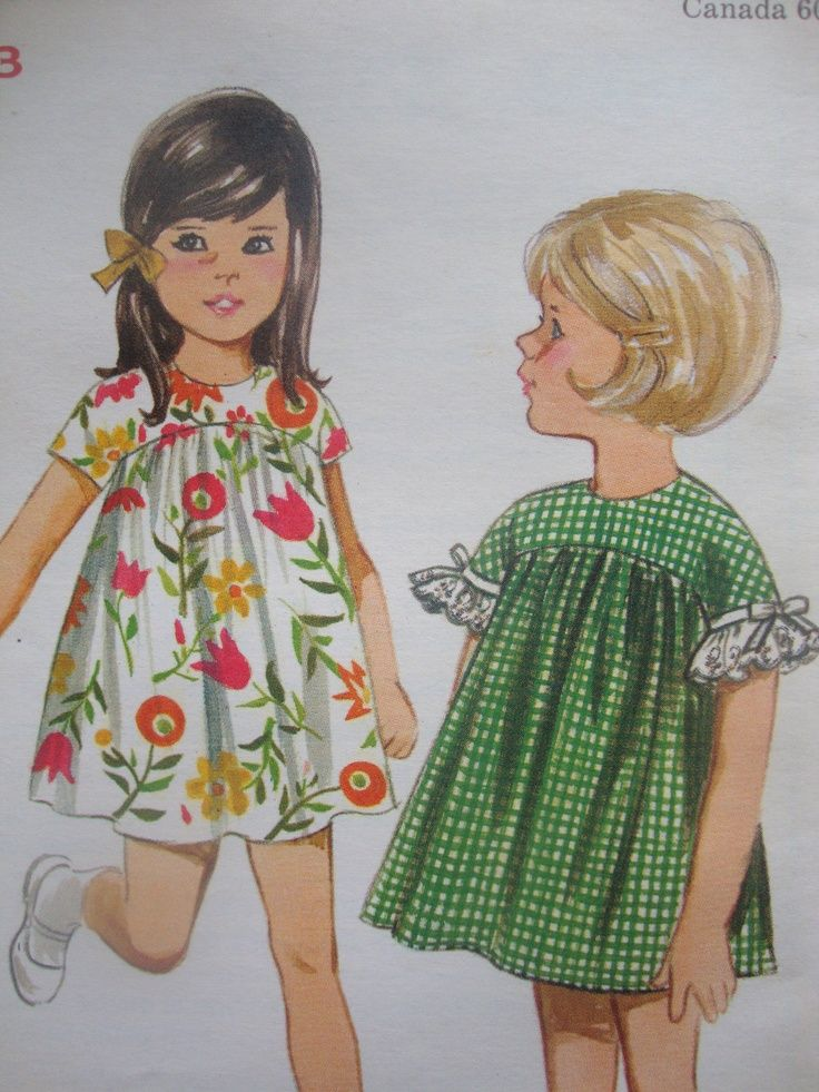 vintage 1960s retro MOD butterick #sewing #pattern girls DRESS high ...