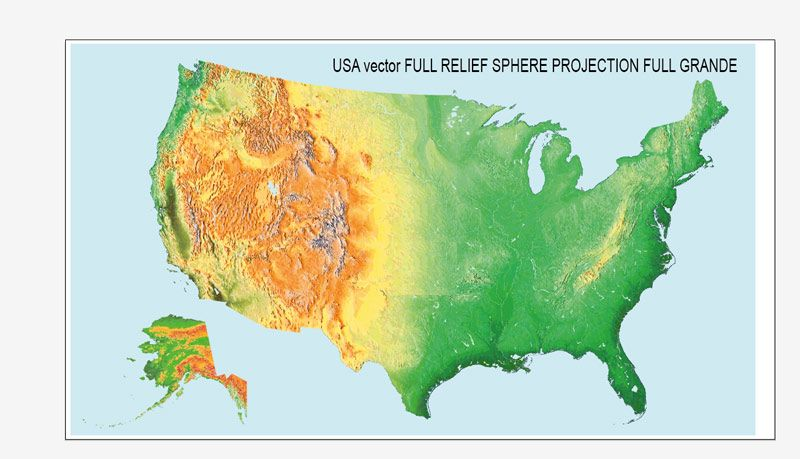 Full Printable USA Relief Vector Map With No Roads No Airports Or - Vector map of us