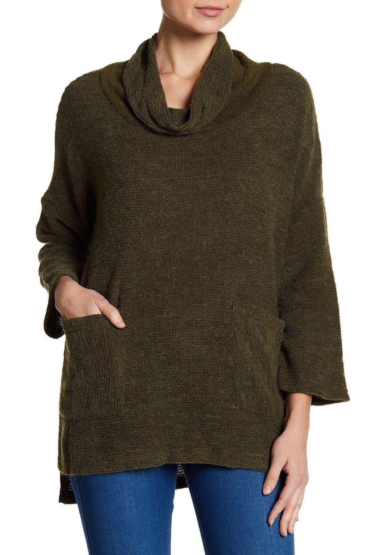 Patrizia Luca Overzied Cowl Neck Sweater With Frontal Pocket ...
