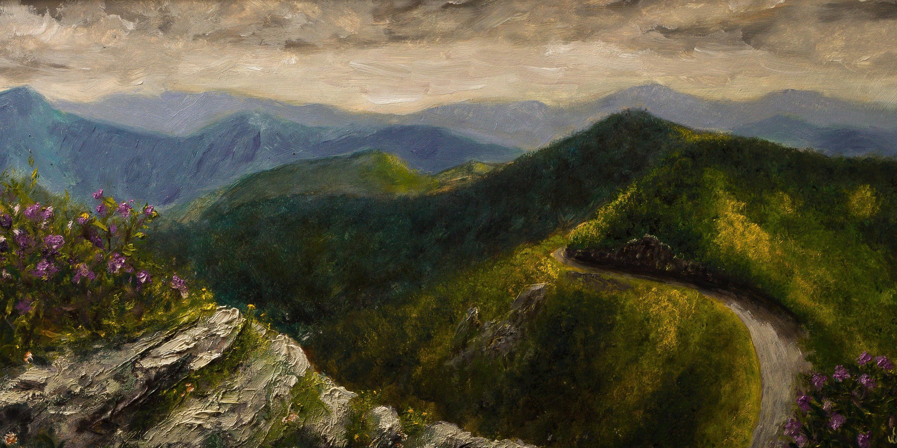 Mountain landscape wall art rustic blue ridge and great
