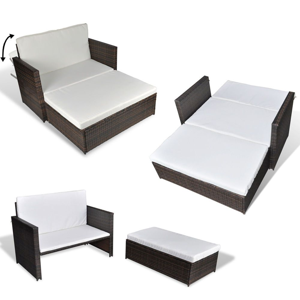 3 in 1 rattan sofabett sofa lounge gartengarnitur gartenliege klappbar in garten terrasse. Black Bedroom Furniture Sets. Home Design Ideas