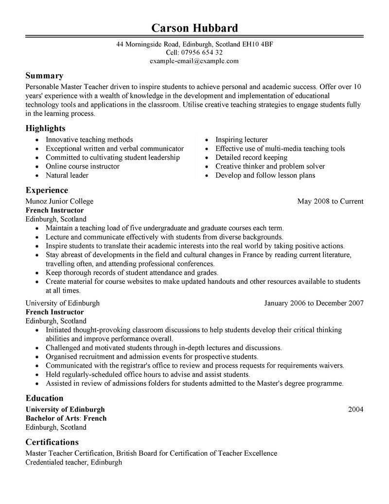 Example Teacher Resume Best Master Teacher Resume Example Livecareer Create  Home Design