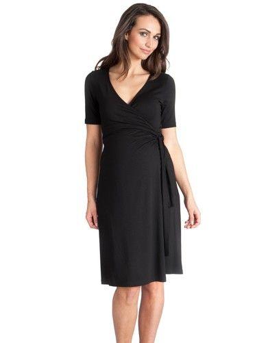 ecc6a67e3be60 Black Short Sleeved Maternity Wrap Dress   Seraphine Maternity ...