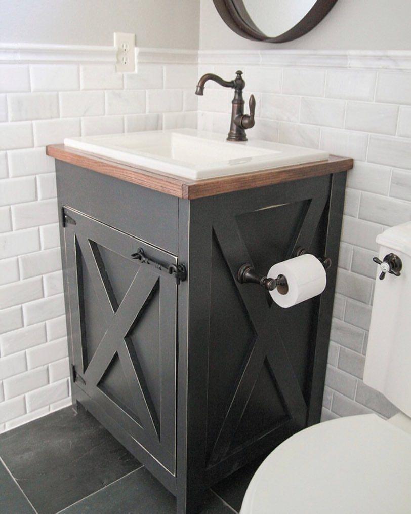 Diy Farmhouse Vanity With Free Plans Www Shanty 2 Chic Com Diy Bathroom Vanity Small Bathroom Vanities Rustic Bathroom Vanities