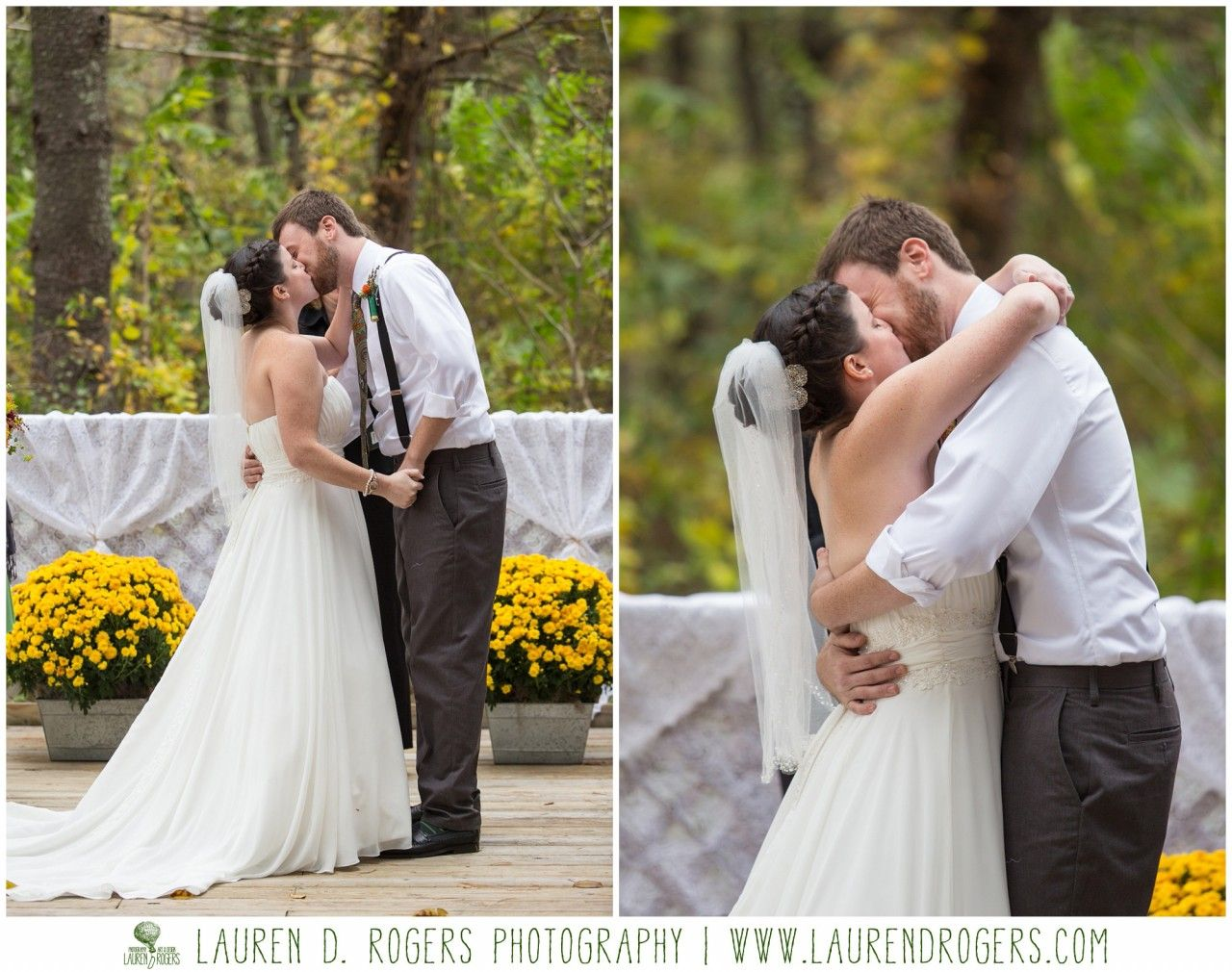 Outdoor Woods Wedding Ceremony: First Kiss, Ceremony Photos, Outdoor Forest Wedding
