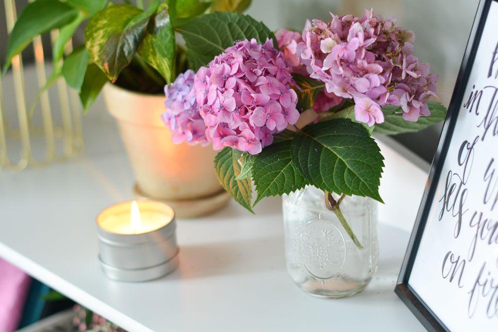 Hydrangeas + candles! Jen's office essentials - Paisley + Sparrow
