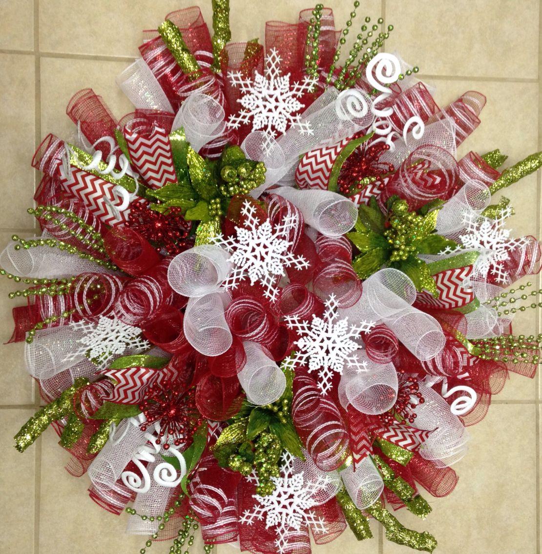 Christmas deco mesh wreath christmas wreaths pinterest for Deco s