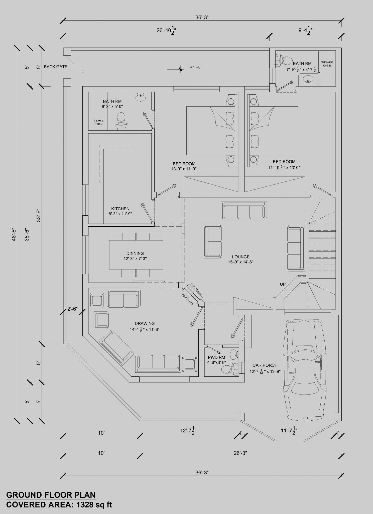 House Floor Plan By 360 Design Estate 7 5 Marla Elegant Kitchen Design House Floor Plans