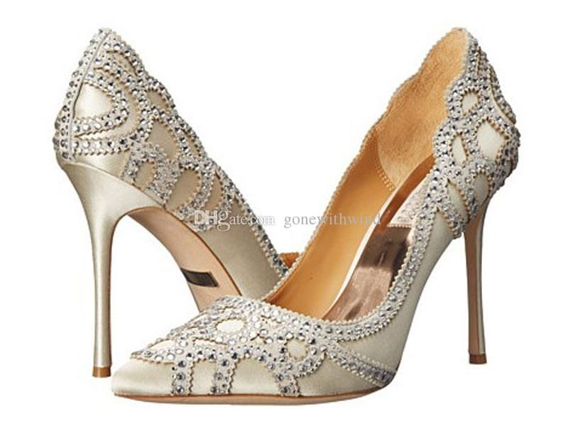 2017 Crystals Beaded Wedding Shoes Pointed Toe Heel Silk Bridal With Crystal Genuine Leathers For Evening Prom