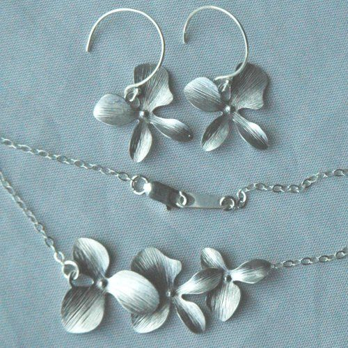 Sterling Silver Simple Triple Orchid Flower Earrings Necklace -SET, Bridesmaids Gift Set Jewelry, Bridesmaids Earrings Necklace | YMCJewelry - Jewelry on ArtFire