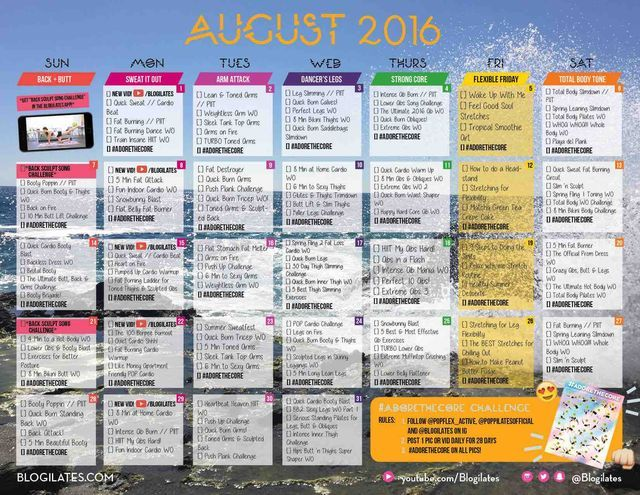 August 2016 Workout Calendar (Blogilates Fitness, Food, and lots of