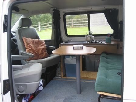 I Like The Ideas Of The Front Seats Swivelling To Sit At A Table Pull Out Or Fold Down And Passenger Seats Camper Van Conversion Diy Camper Van Campervan