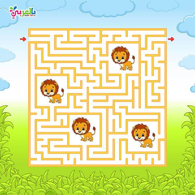 العاب المتاهات للاطفال متاهات للاطفال ملونه اوراق عمل متاهات للاطفال بالعربي نتعلم Puzzles For Kids Printable Mazes Arabic Alphabet For Kids