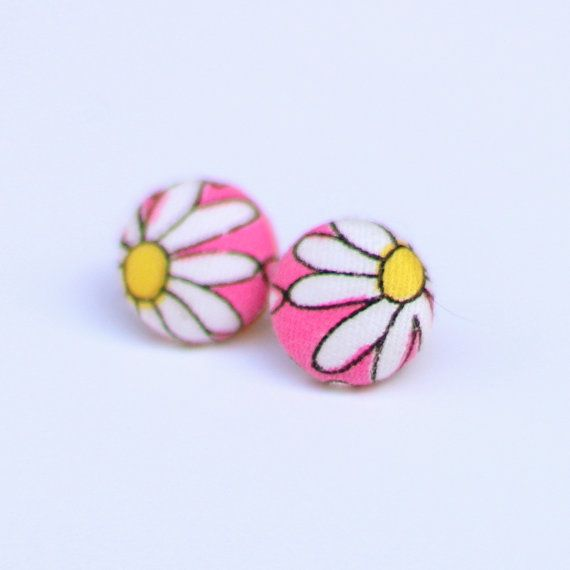 pink and white covered button stud earrings