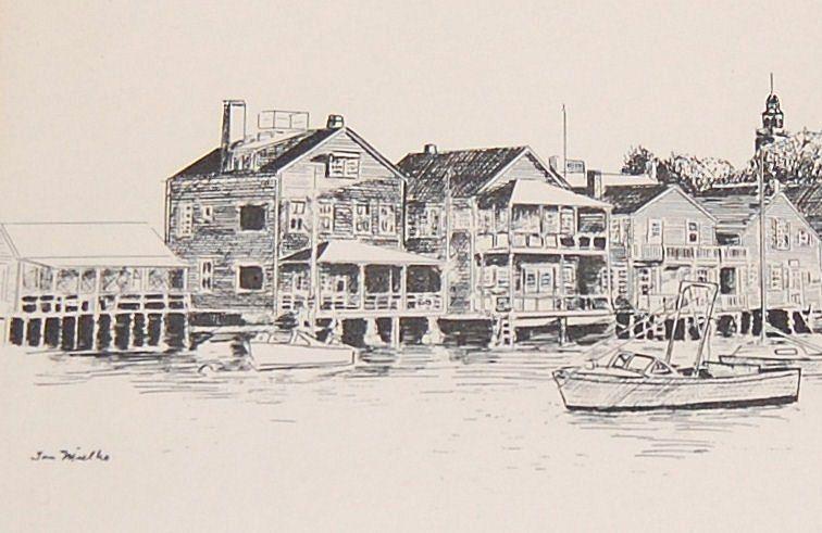 1970s Tom Mielko ~ Nantucket Harbor Scene Framed Print