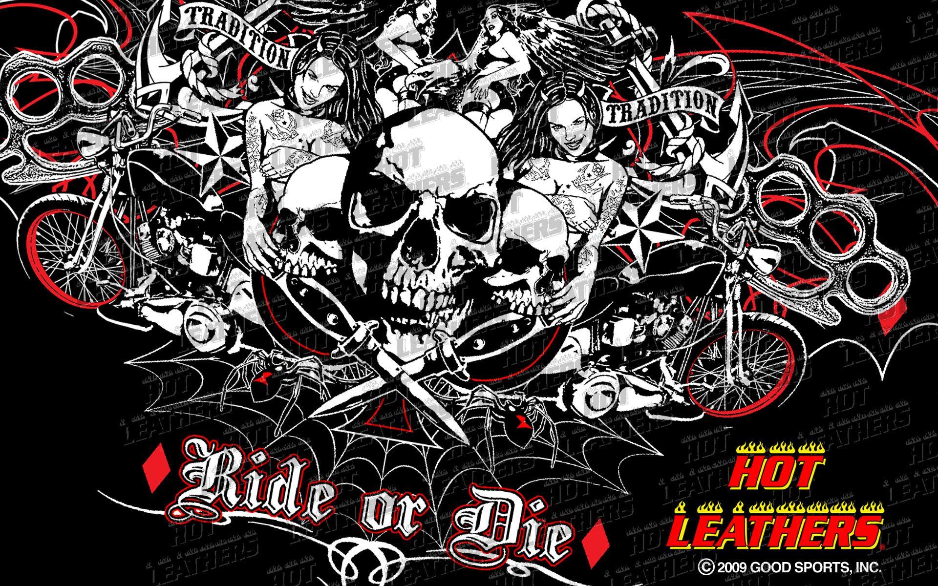 Skull wallpaper scenic skull biker 173569