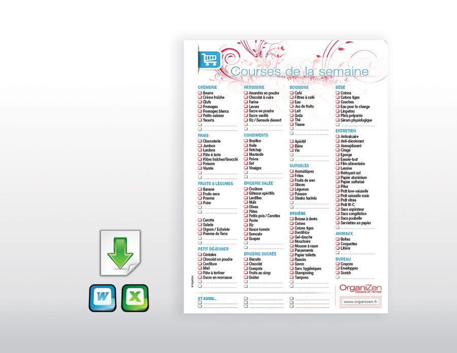 Modele De Liste De Courses Format Xls Liste De Courses Courses Planificateur De Menu