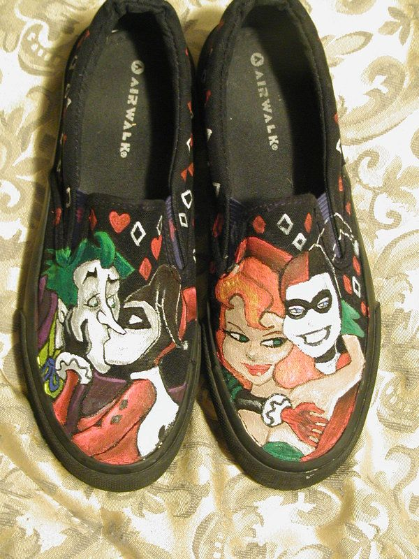 a5efbcc09e4876 Hand drawn Harley Quinn shoes by AlzadoCompany on Etsy