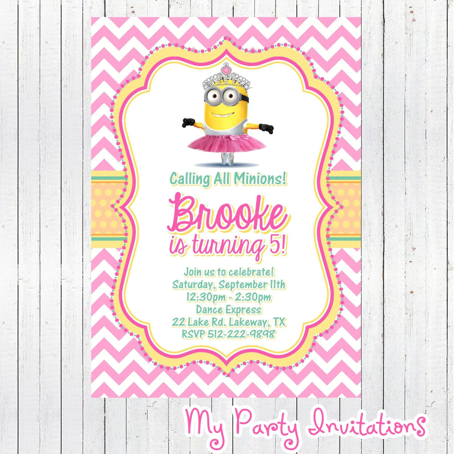 minion invitations for girls - Google Search | birthday ideas ...