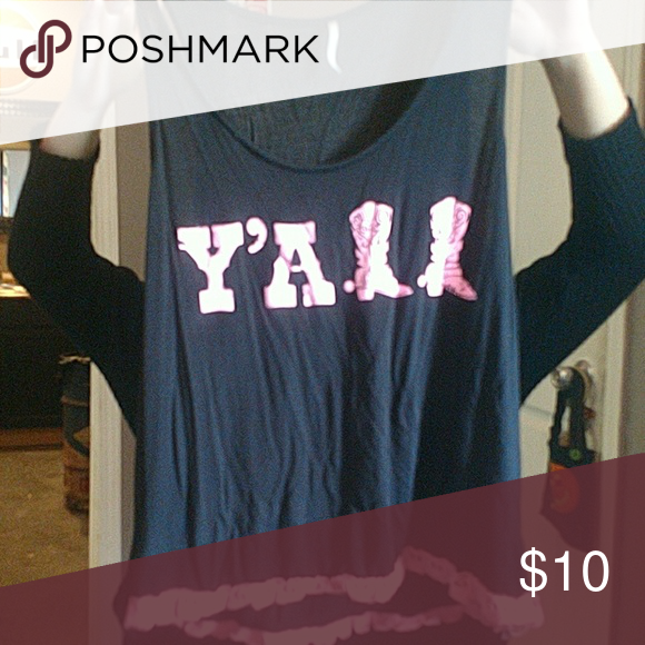 Black Y All Tank Top With Pink Lettering Spelling Has