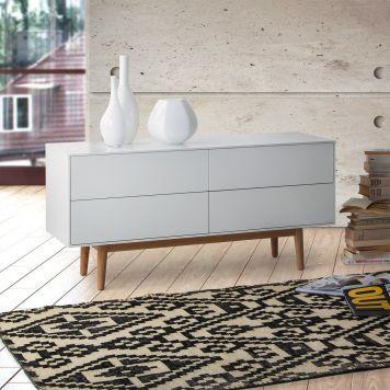 Sideboard Lindholm V - Weiß Dekor Eiche massiv Weiß liebt Holz - holzarten moebel kombinieren ideen
