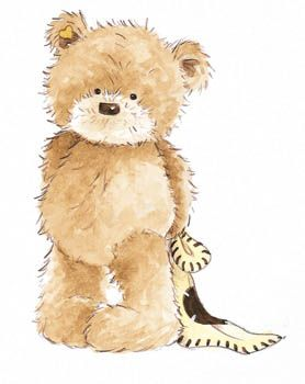 Popcorn the Bear with Comfort Blanket - standing, © Bright Start Characters #babyteddybear