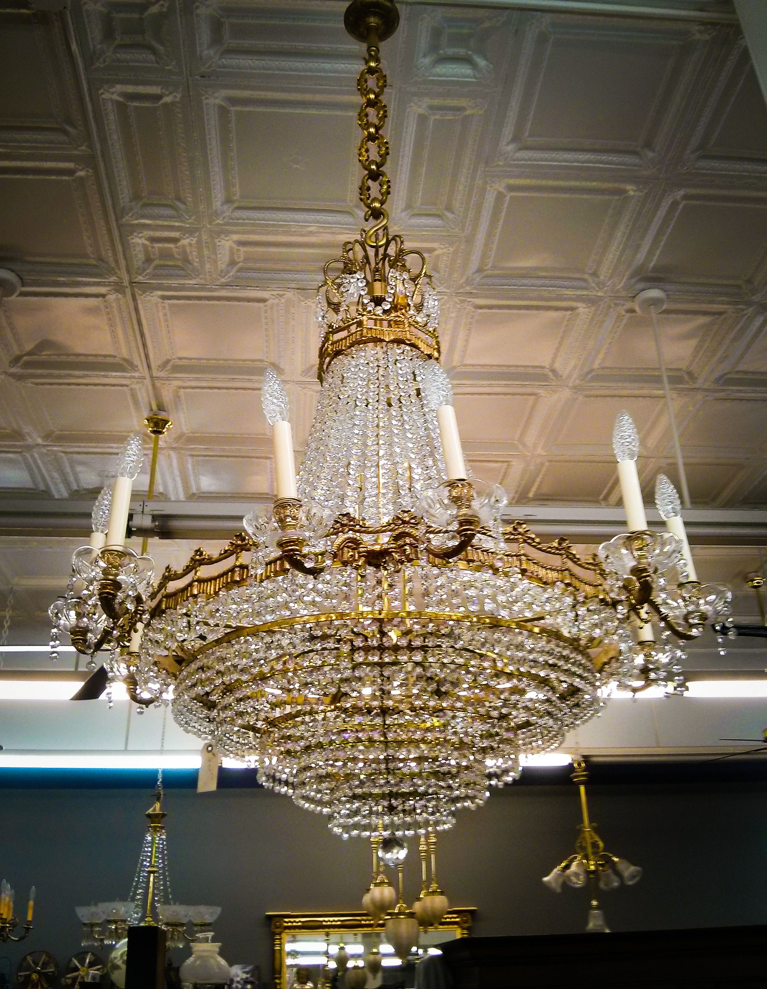 Antique Empire crystal chandelier inspired by the French Empire