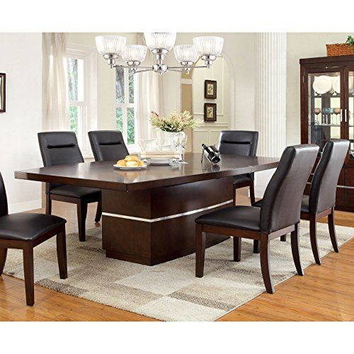 Furniture of America Lyzandrie Contemporary Dining Table with LED ...