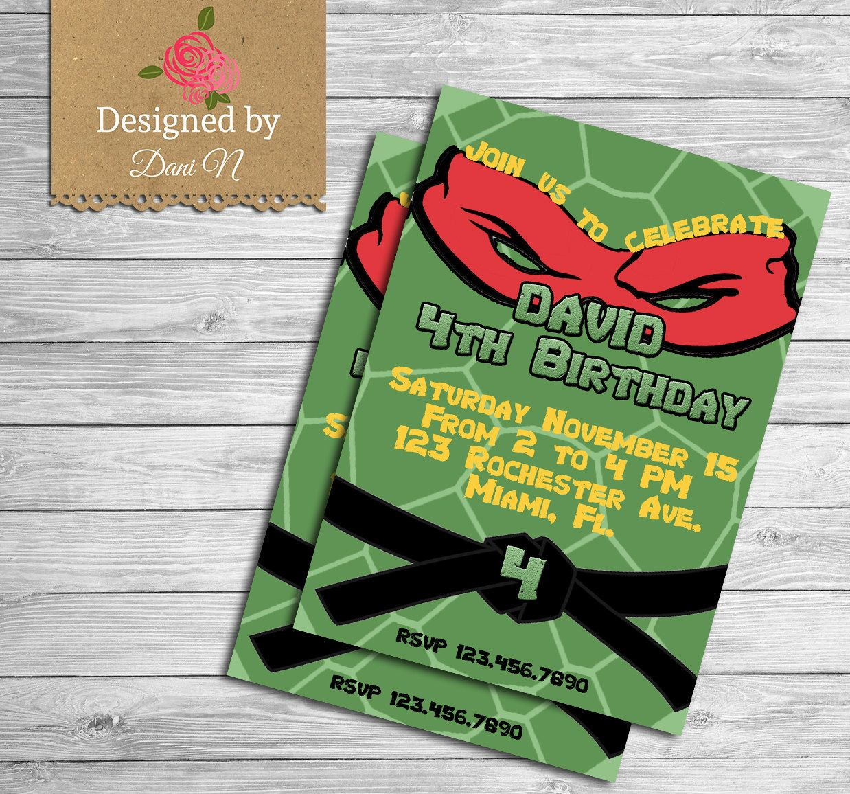 Tmnt Party Invitations Cloveranddotcom three photo christmas cards ...