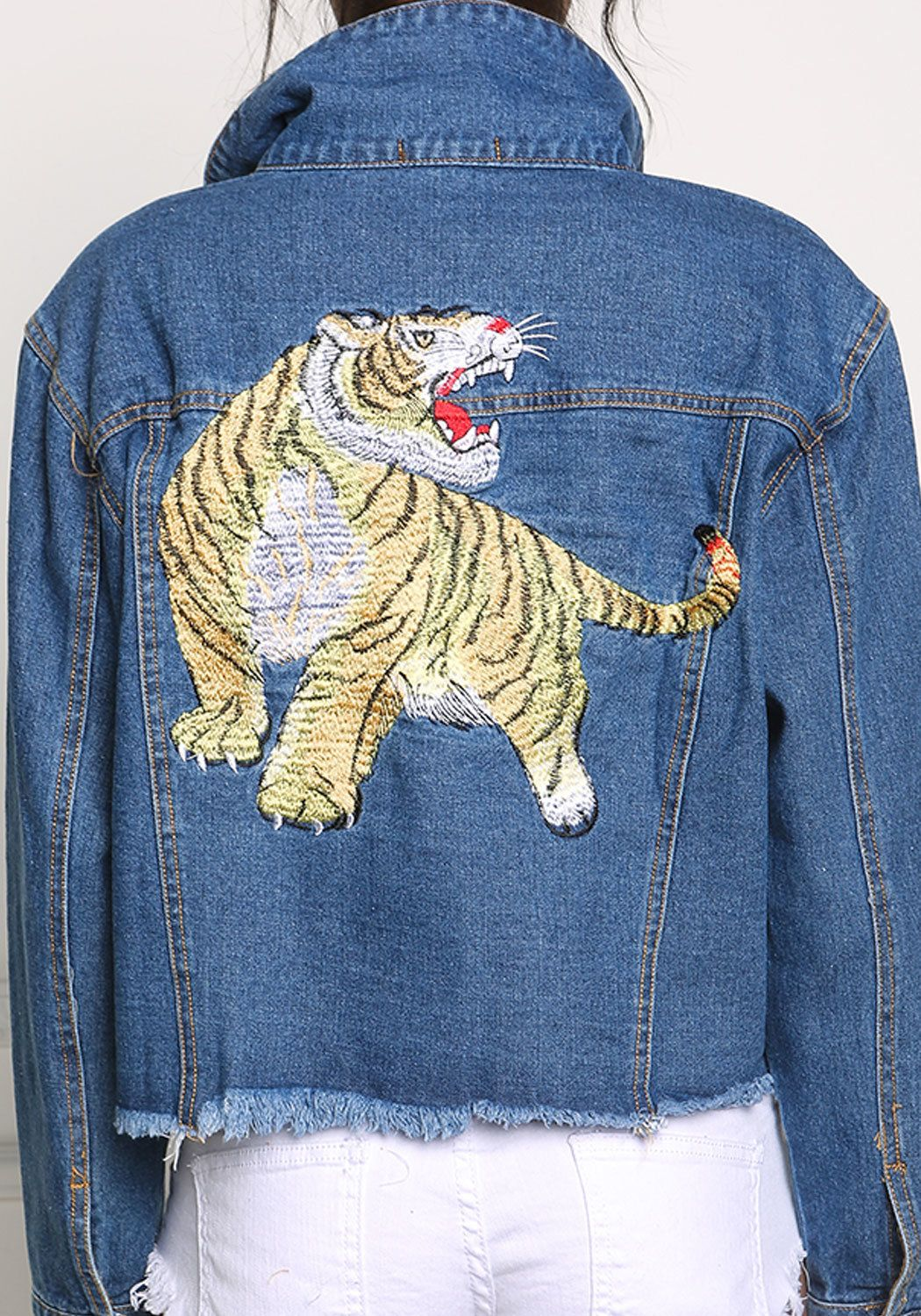 Tiger embroidered frayed denim jacket fashion pinterest denim