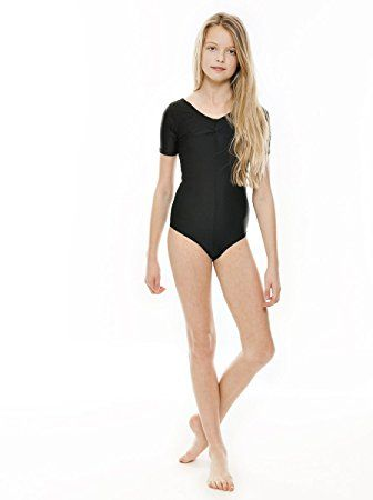 c2e45b79c5fe Ladies Girls Lycra Short Sleeved Ruched Front Ballet Dance Gymnastics Leotard  All Sizes & Colours By Katz Dancewear (Black, Age 2-4 Years Katz 00): ...