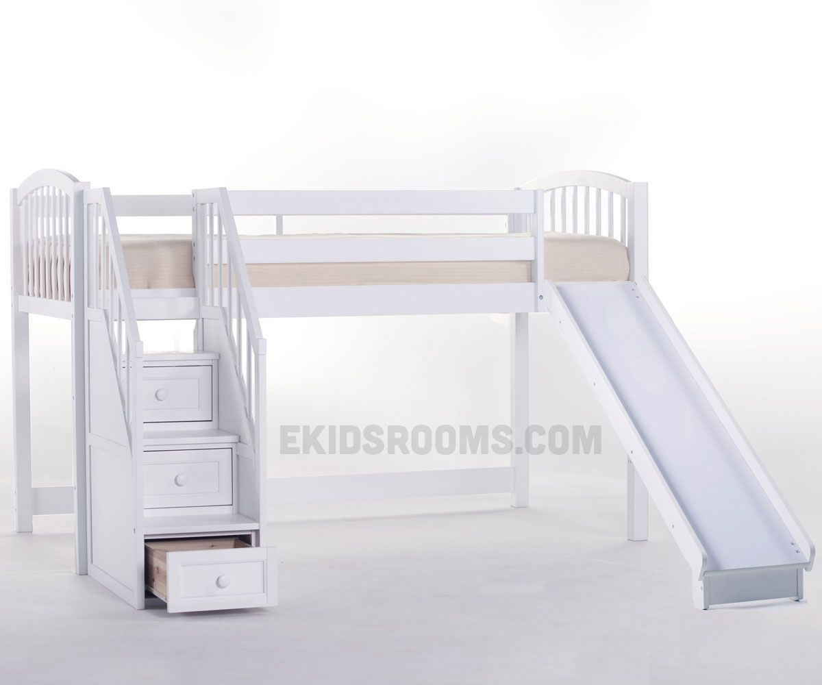 Bunk beds with slide and stairs - School House Junior Low Loft Bed With Stairs And Slide Ne Kids Furniture White