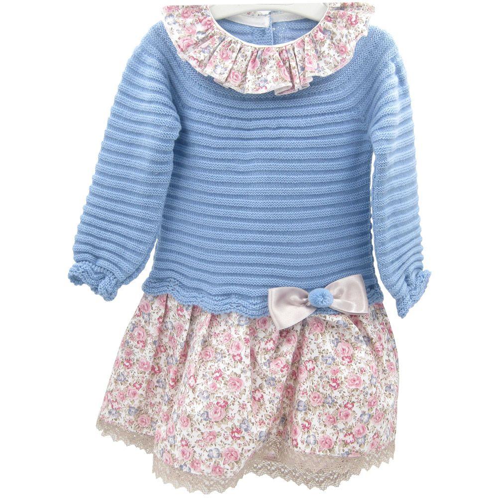 Vestido con cuerpo de lana y parte inferior de tela de florecitas XX