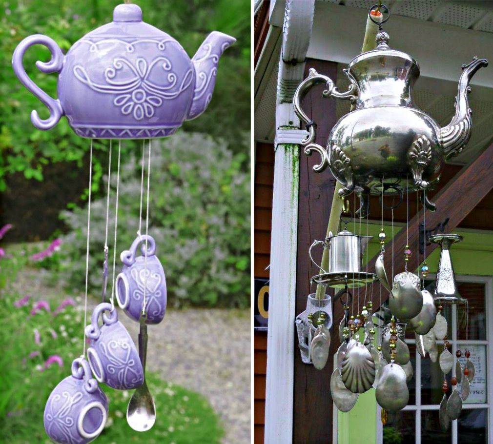 These upcycled Teapot Wind Chimes will look