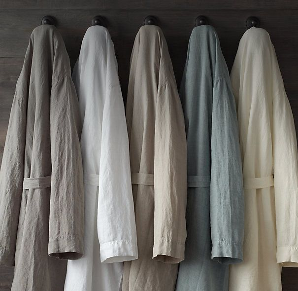 Stonewashed Belgian Linen Robe Robe Linen Pillows
