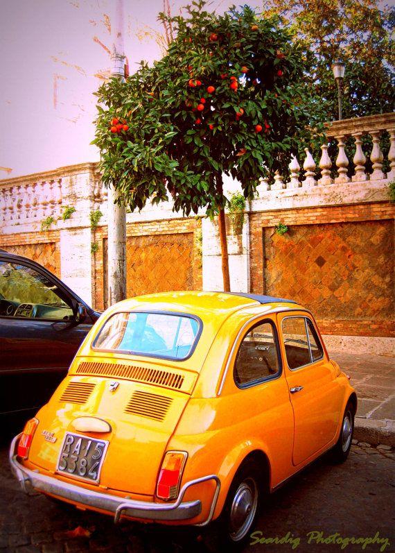 Rome Vintage Fiat 500 Orange Tree Photo Wall Art Decor