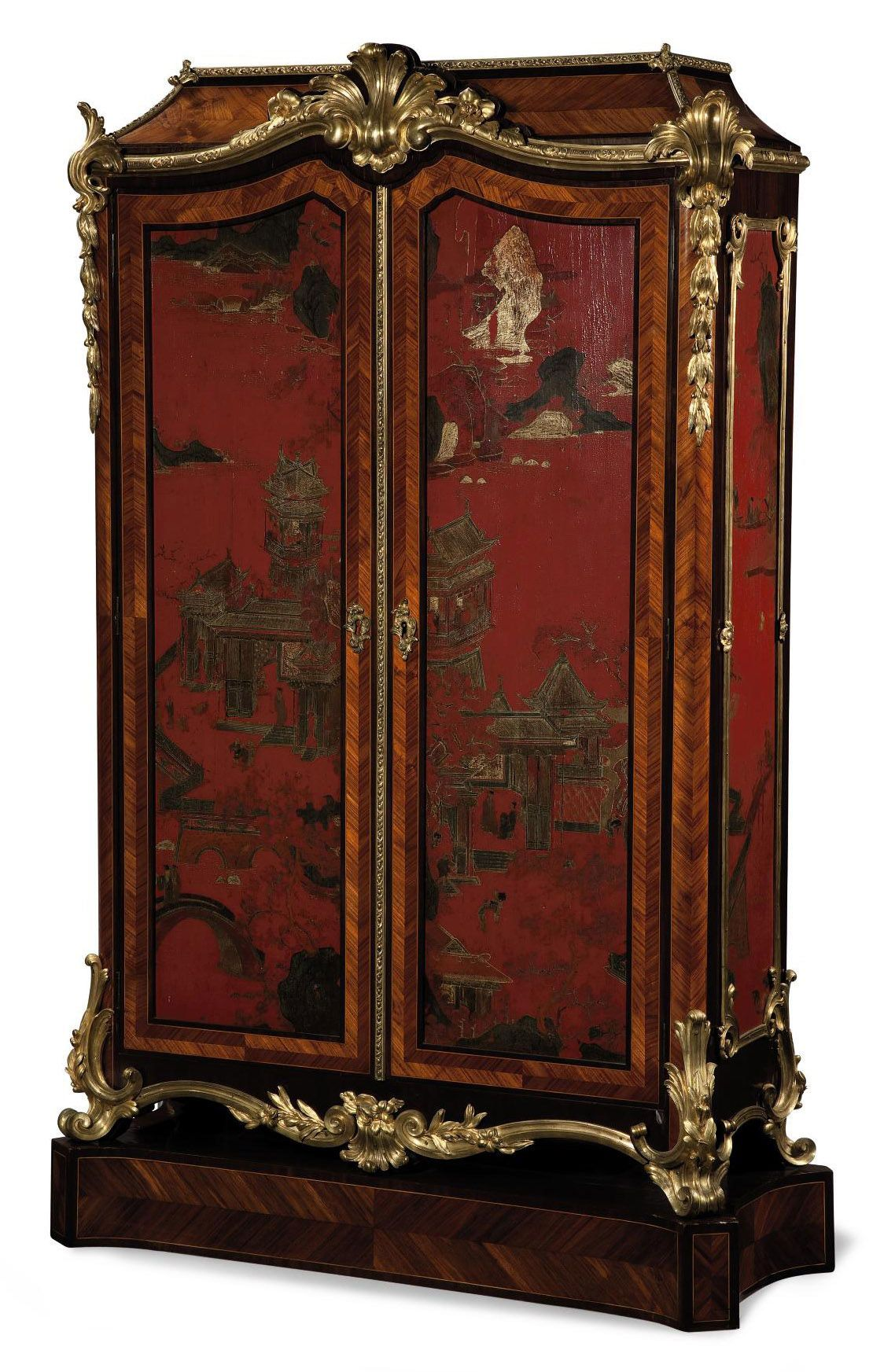 Date Unspecified A Napoleon Iii Ormolu Mounted Red Lacquer Tulipwood And Amaranth Armoire Third Quarter 19t Red Lacquer Cheap Carpet Runners Red Carpet Runner