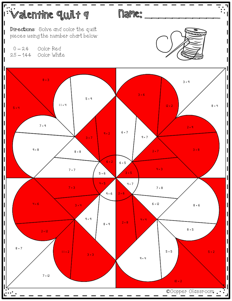 This Set Of Printables Includes 10 Math Quilts With A Valentine S Day Theme These No Prep Color By Code Worksheets Focus Math Valentines Quilts Quilt Patterns [ 1056 x 816 Pixel ]