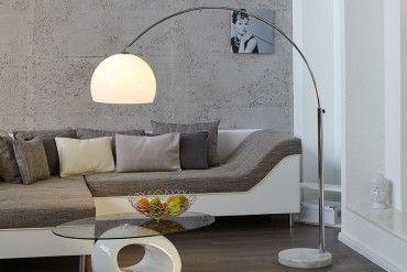 Design Bogenlampe Lounge Deal Weiss Marmorfuss 175 205cm