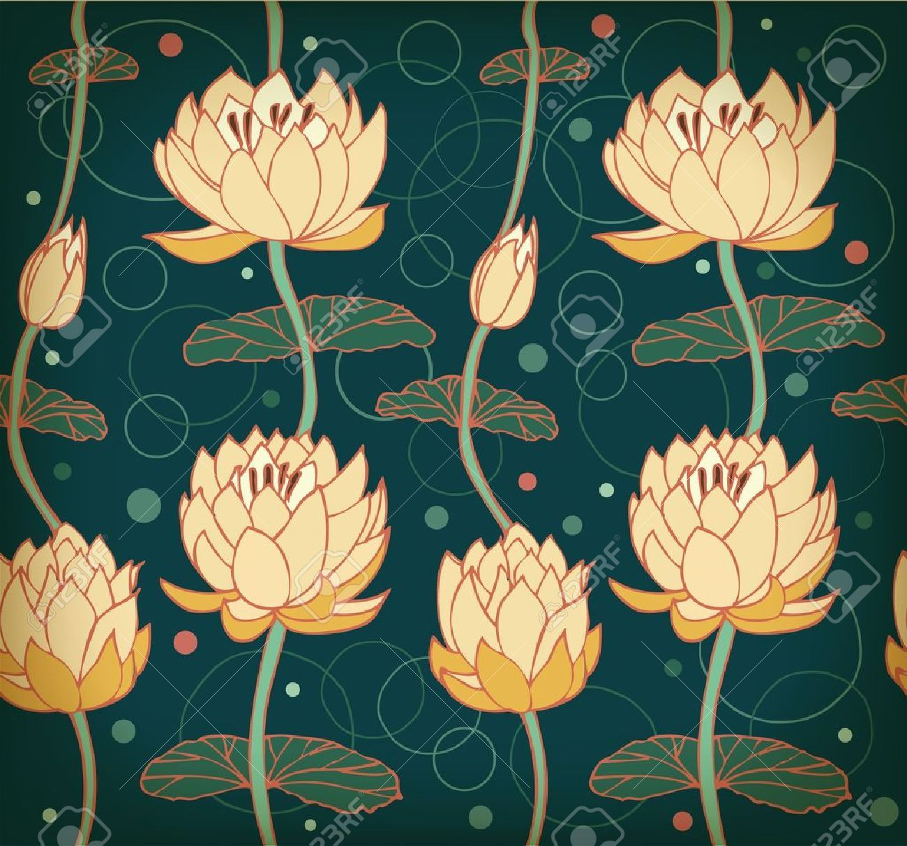 Lotus background floral pattern with water lilies seamless lotus background floral pattern with water lilies seamless royalty free cliparts vectors and stock illustration pic 18371959 izmirmasajfo