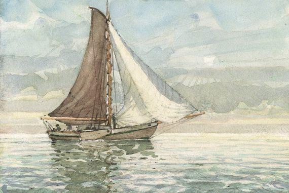 Aquarelle Voilier Mer Recherche Google Boat Fishing Boats