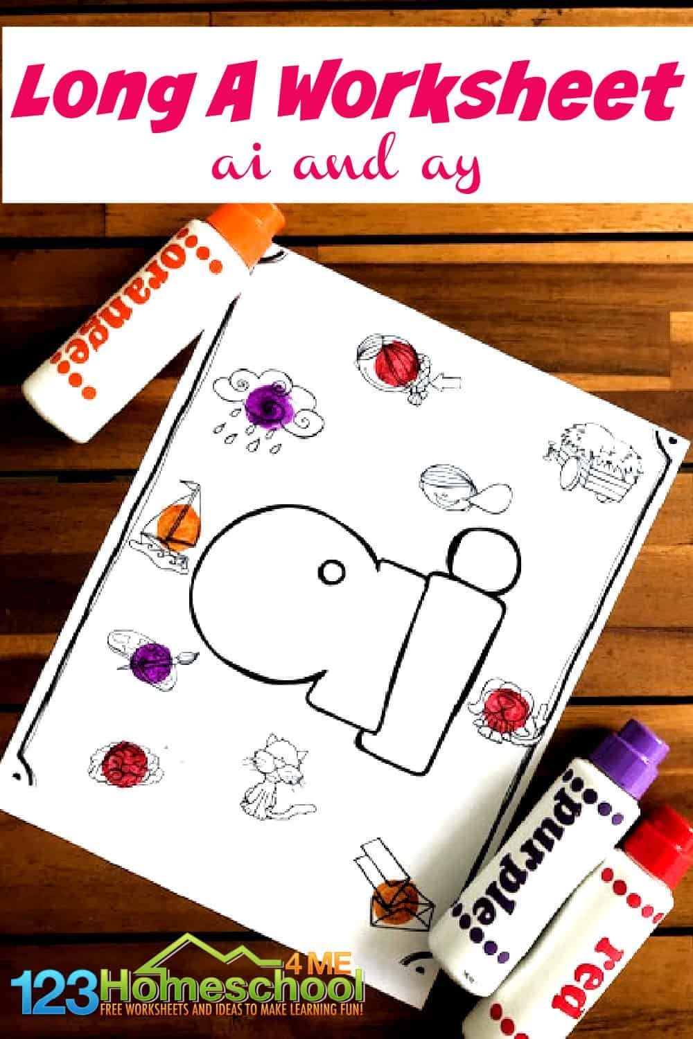 FREE Long A Worksheet in 2020 Activities for 1st graders