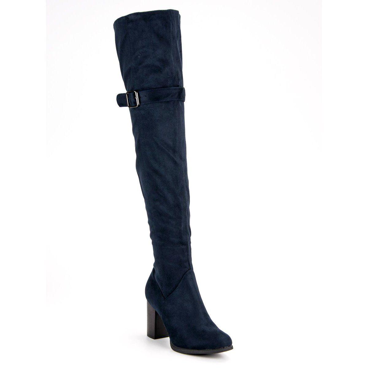 Sds Granatowe Muszkieterki Na Slupku Niebieskie Boots Knee Boots Over Knee Boot