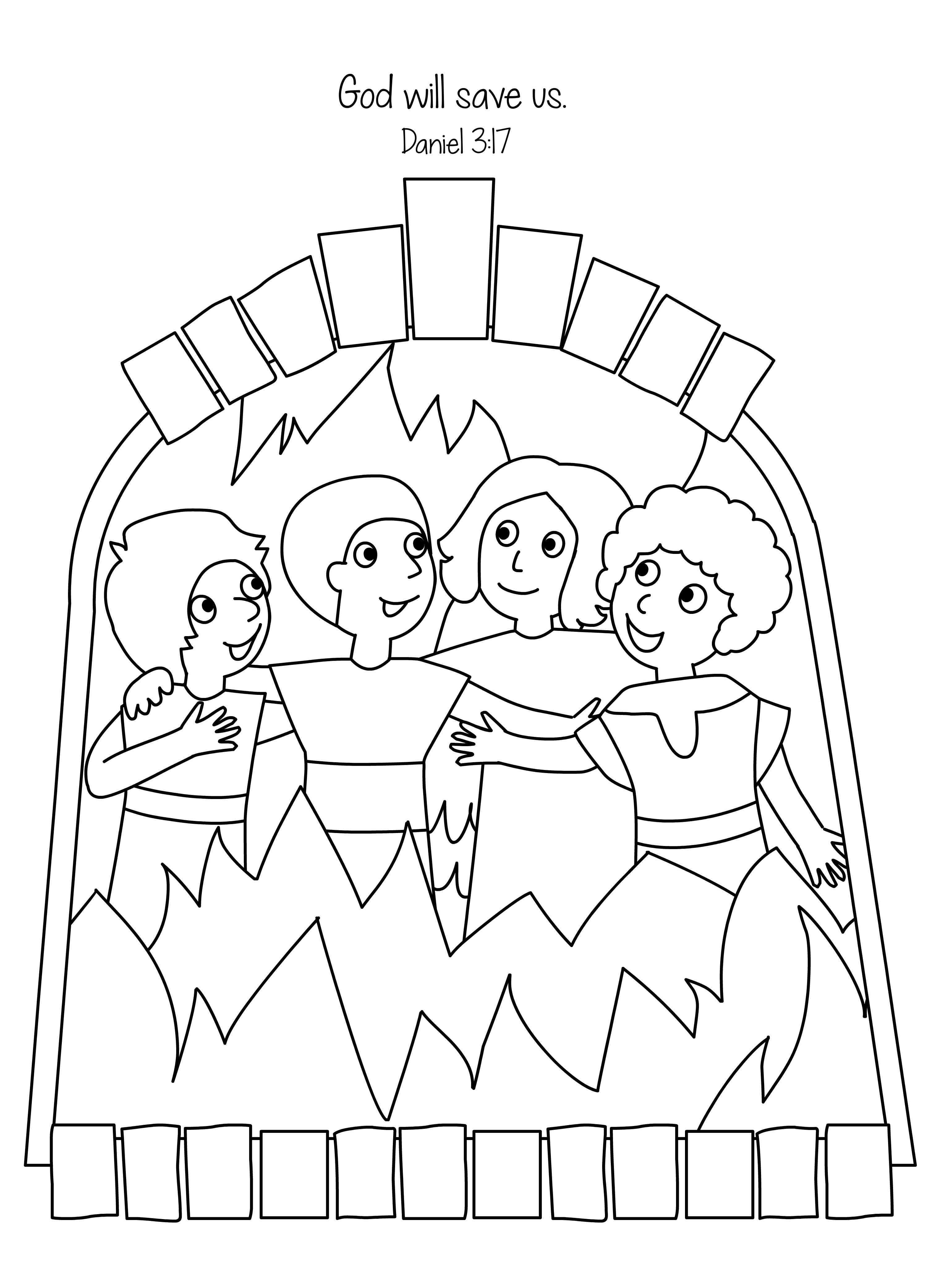 Amazing Fiery Furnace Coloring Page - Shadrach Meshach And Abednego ...