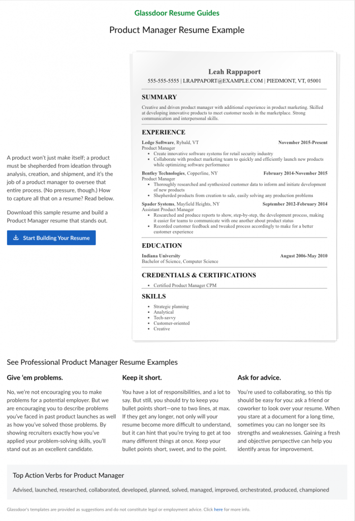 Resume Templates For The Best Jobs In America Glassdoor In 2020 Manager Resume Resume Guide Resume
