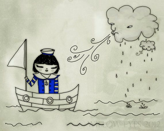 """SALE 30% DISCOUNT Sailor Girl - Nautical Art Print 10""""x8"""" - Grey Stormy Weather Illustration by Willow Eyes on Etsy, £6.95"""